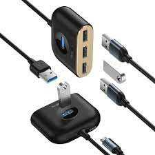 Baseus CAHUB-AY01 Square round 4 in 1 USB HUB Adapter(USB3.0 TO USB3.0*1+USB2.0*3) 1m Black